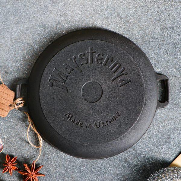 Ketaus keptuvė skrudintuvas 20*4 cm su mediniu padėklu T1011-02