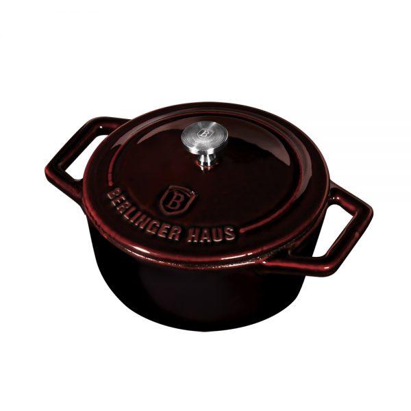 Ketaus puodas su dangčiu, 10 cm, Metallic Line Burgundy Edition-BH-6495