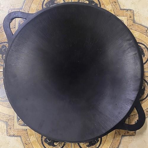 sadž - Užbekiška šlifuota (poliruota) ir išdeginta keptuvė Sadž | Skersmuo - 37 cm. Pagaminta Uzbekistane. Galima naudoti Kamado