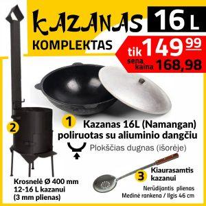 Komplektas: Krosnelė 16L kazanui. Kazanas 16L (plokscias isoreje). Kiaurasamtis 46 cm ilgio užbekiškam kazanui