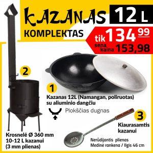 Komplektas: Krosnelė 12L kazanui. Kazanas 12L (plokscias isoreje). Kiaurasamtis 46 cm ilgio užbekiškam kazanui