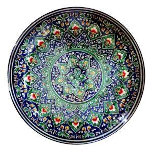 """Uzbekiška rankų darbo lėkštė """"leganas"""" plovui, šašlykams; skersmuo 38cm"""